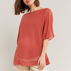 Thyme chiffon maternity blouse with Dolman sleeve